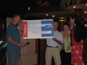 Cheque uitreiking aan Annette van Ark en Adrienne Verboom van KWF kankerbestrijding